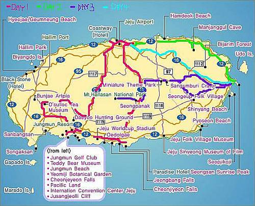 maps of japan and korea. Map of Jejudo and route taken